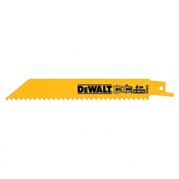 "DeWalt 6"" 6 TPI Straight Back Bi-Metal Reciprocating Saw Blade (5 Pack)"