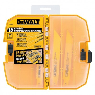 DeWalt 15-Piece Bi-Metal Reciprocating Saw Blade Set with Case