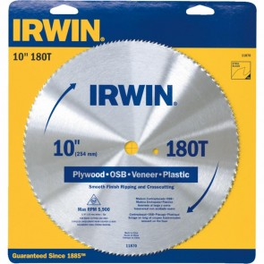 Irwin 10 Inch 180 Tooth Plywood Blade 5 Pack