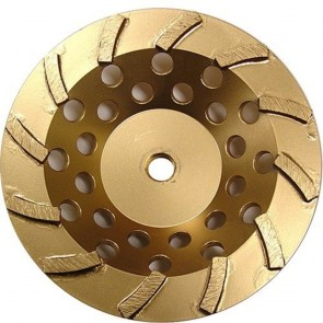 Diamond Products Core Cut 7-Inch by 5/8-Inch 11 Standard Gold Spiral Turbo Cup Grinders with 12 Segments