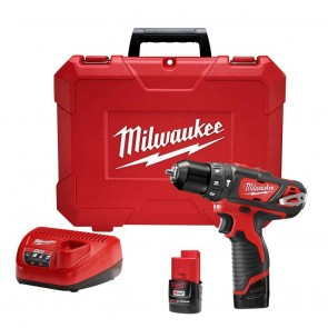 Milwaukee M12 Cordless Lithium-Ion 3/8 in. Hammer Drill/Driver Kit