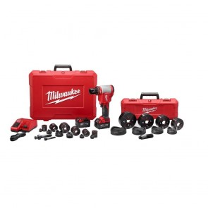 Milwaukee M18 FORCE LOGIC Cordless Lithium-Ion High Capacity Knockout Kit with EXACT 1/2 - 4 in. Knockout Set