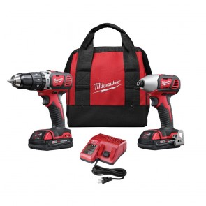 Milwaukee M18 Cordless Lithium-Ion 1/2 in. Compact Hammer Drill and Impact Driver Combo Kit