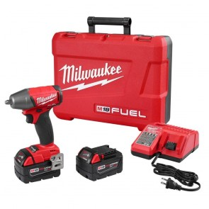 Milwaukee FUEL M18 5.0 Ah Cordless Lithium-Ion 3/8 in. Compact Impact Wrench with Friction Ring Kit