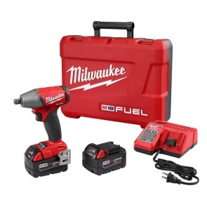 Milwaukee FUEL M18 5.0 Ah Cordless Lithium-Ion 1/2 in. Compact Impact Wrench with Pin Detent Kit