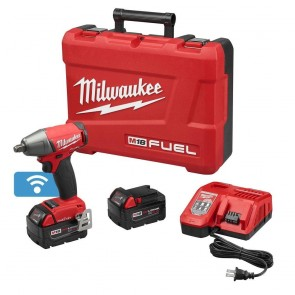 Milwaukee M18 FUEL 5.0 Ah Cordless Lithium-Ion 1/2 in. Compact Impact Wrench Kit with Friction Ring & ONE-KEY Connectivity