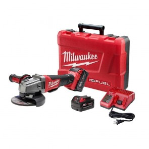 Milwaukee M18 FUEL Cordless 4-1/2 in. - 5 in. Paddle Switch Grinder with 2 REDLITHIUM Batteries