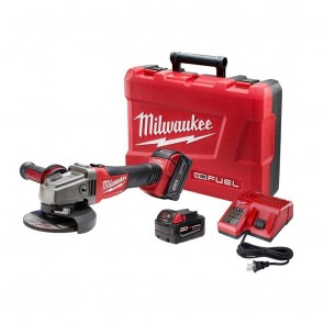 Milwaukee M18 FUEL Cordless 4-1/2 in. - 5 in. Slide Switch Grinder with Lock-On and 2 REDLITHIUM Batteries
