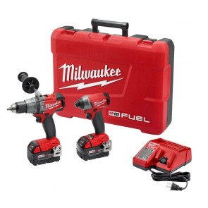 Milwaukee M18 FUEL Cordless Lithium-Ion 1/2 in. Hammer Drill and 1/4 in. Hex Impact Driver Kit