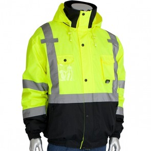 """PIP® ANSI Type R Class 3 Rip Stop Premium Plus Bomber Jacket with Zip-Out Fleece Liner and """"D"""" Ring Access, Lime Yellow, Small"""