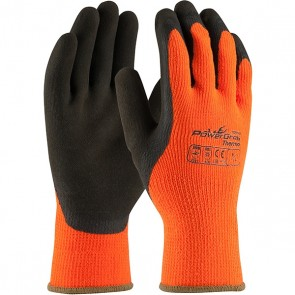 PIP PowerGrab™ Thermo Hi-Vis Seamless Knit Acrylic Terry Glove with Latex MicroFinish Grip on Palm & Fingers, Orange, Large