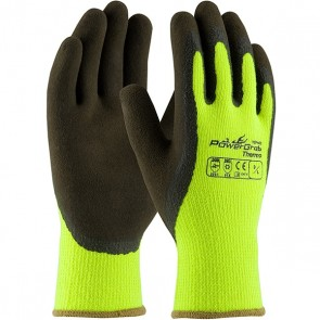 PIP PowerGrab™ Thermo Hi-Vis Seamless Knit Acrylic Terry Glove with Latex MicroFinish Grip on Palm & Fingers, Lime Yellow, XX-Large