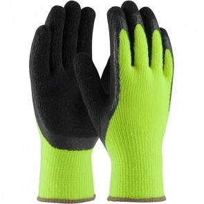 PIP Hi-Vis Seamless Knit Acrylic Terry Glove with Latex Coated Crinkle Grip on Palm & Fingers, Medium