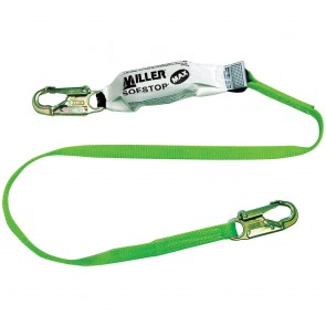 Honeywell Miller 6' Green Single Leg Lanyard With SofStop MAX Shock Absorber And 2 Locking Snap Hooks