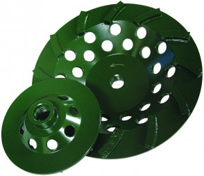 "Diamond Products 4"" X 5/8-11 Utility Green Spiral Turbo Cup Grinder (9 Segment)"
