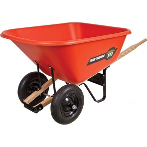 Ames 10-Cubic-Foot Poly Tray Dual Wheel Contractor Wheelbarrow