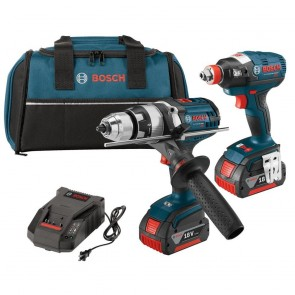 Bosch 18V Cordless Lithium-Ion 1/2 in. Hammer Drill and Socket Ready Impact Driver