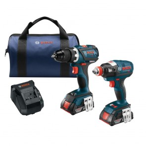 Bosch 18V 2.0 Ah Cordless Lithium-Ion EC Brushless Impact Driver and Drill Driver Combo Kit