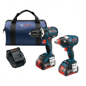 Bosch 18V 4.0 Ah Cordless Lithium-Ion EC Brushless Impact Driver and Drill Driver Combo Kit