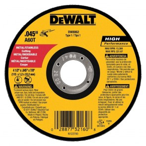 "DeWalt 4-1/2"" x .045"" x 7/8"" Metal Cutting Angle Grinder Thin Cutoff Wheel"