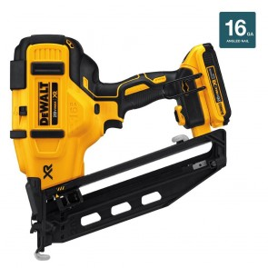 DeWalt 20V MAX Cordless Lithium-Ion 16 Gauge 2-1/2 in. 20 Degree Angled Finish Nailer Kit