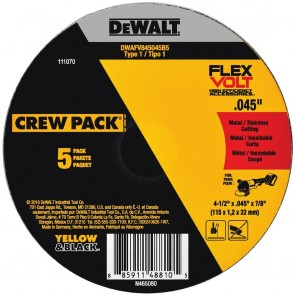 DeWalt T1 FLEXVOLT Cutting Wheel 4-1/2 in. x .045 in. x 7/8 in.