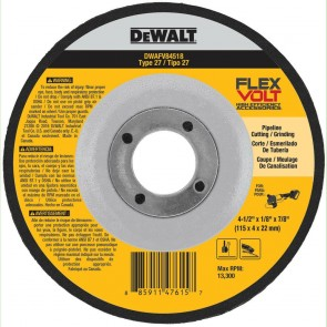 DeWalt T27 FLEXVOLT Cutting and Grinding Wheel 4-1/2 in. x 1/8 in. x 7/8 in.