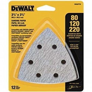 DeWalt Hook & Loop Triangle Sandpaper Assortment 12PK