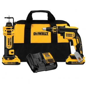 DeWalt 20V MAX Brushless Drywall Screw gun & Cut-Out Tool Combo Kit(2.0 Ah)