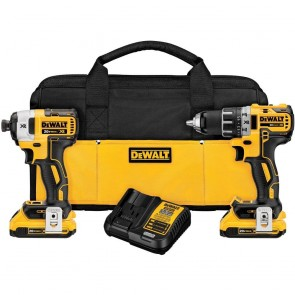 DeWalt 20V MAX XR 2.0 Ah Cordless Lithium-Ion Brushless Drill Driver & Impact Driver Combo Kit