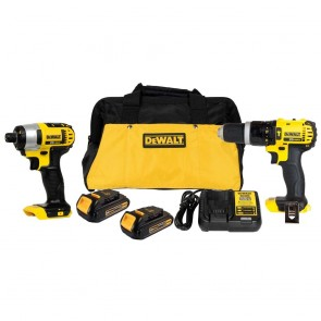 DeWalt 20V MAX Cordless Lithium-Ion 1/2 in. Compact Hammer Drill and Impact Driver Combo Kit
