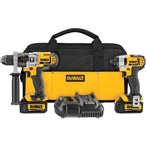 DeWalt 20V MAX Cordless Lithium-Ion 1/2 in. Hammer Drill and Impact Driver Combo Kit