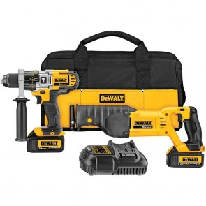 DeWalt 20V MAX Cordless Lithium-Ion 1/2 in. Hammer Drill and Reciprocating Saw Combo Kit