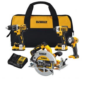 DeWalt 20V MAX XR Compact 4-Tool Combo Kit ( Drill, Driver, Circ Saw, Worklight)