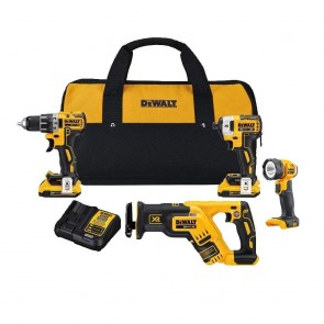 DEWALT 20V MAX XR 4-Tool Compact Combo Kit (Recip Saw, Drill, Driver, Worklight)