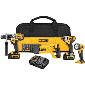 DeWalt 20V MAX Premium 4-Tool Combo Kit Driver, Drill, Recip Saw, Worklight