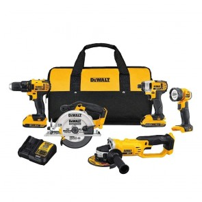 DeWalt 20V MAX Compact Cordless 5-Tool Grinder, Circ Saw, Impact Driver, Worklight