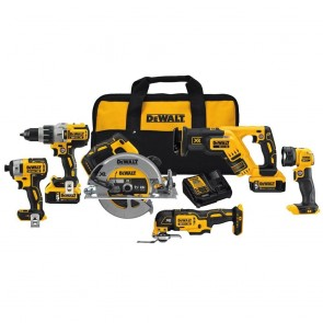 DeWalt 20V MAX XR 6-Tool Combo Kit Circ Saw,Drill,Driver,Recip Saw