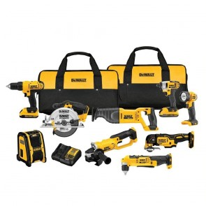 DeWalt 20V MAX 9-Tool Combo Kit Grinder, Circ Saw, Driver, Recip Saw, Light