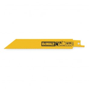 "DeWalt 4"" 18 TPI Straight Back Bi-Metal Reciprocating Saw Blade (5 Pack)"