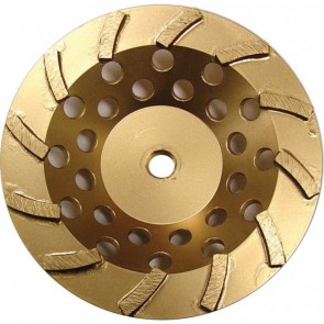 Diamond Products Core Cut 4-Inch by 5/8-Inch-11 Standard Gold Spiral Turbo Cup Grinders with 9 Segments