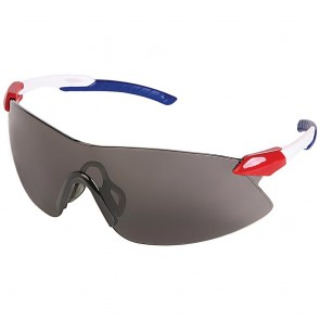 ERB Striker Safety Glasses with Red, White and Blue Temple and Gray Lens
