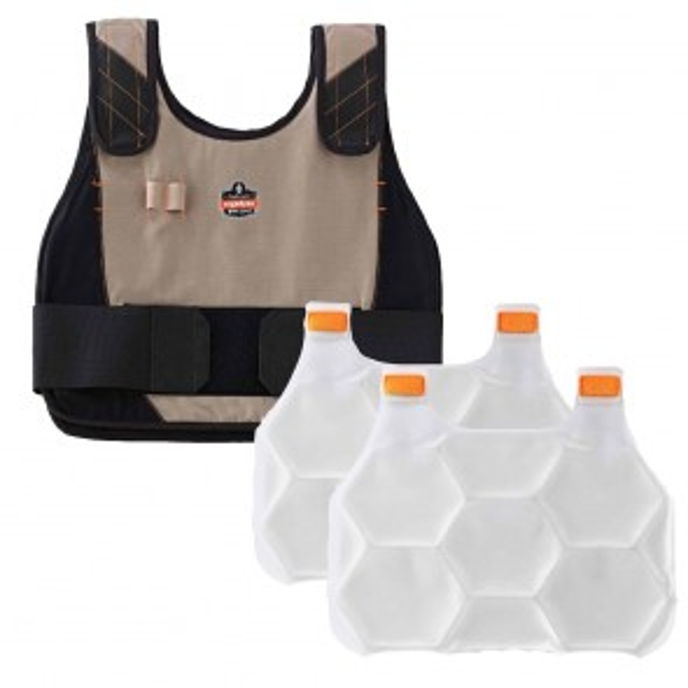 Ergodyne Chill-Its® 6215 Premium FR Phase Change Cooling Vest with Packs (L/XL) (Khaki)