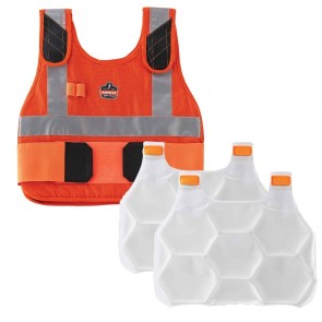 Ergodyne Chill-Its® 6215 Premium FR Phase Change Cooling Vest with Packs (L/XL) (Orange)