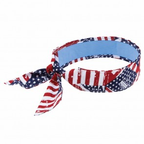 Ergodyne Chill-Its® 6700CT Evaporative Cooling Bandana with Cooling Towel - Tie (Stars & Stripes