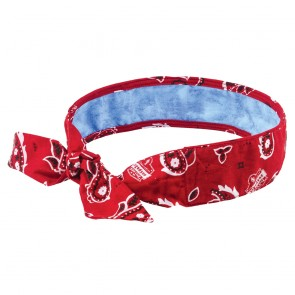 Ergodyne Chill-Its® 6700CT Evaporative Cooling Bandana with Cooling Towel - Tie (Red Western)