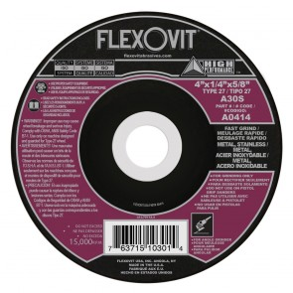 "Flexovit 4""x1/4""x5/8"" A30S - FAST GRIND Depressed Center Grinding Wheel"