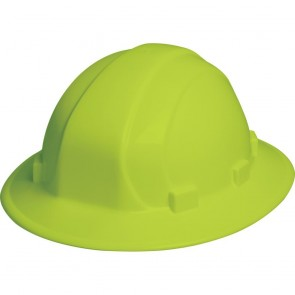 ERB Omega II Full Brim Hard Hat with Ratchet Adjustment, Hi-Viz Lime