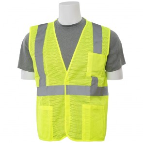 ERB Class 2 Economy Mesh Safety Vest with Pockets, Large (Lime)