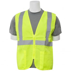 ERB Class 2 Zippered Solid Woven Safety Vest with Pockets, 3X-Large (Lime)